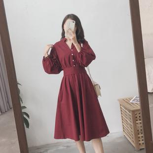赫本风小红裙法式复古气质桔梗女春裙子本命年收腰红色衬衫连衣裙