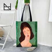 弘娜艺术家莫迪里阿尼系列单肩帆布包日系文艺范拉链环保购物袋hh