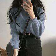 秋冬长袖毛绒宽松套头针织毛衣女气质圆领上衣外套潮