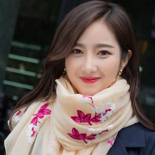 2018秋冬民族风围巾女刺绣花朵丝巾棉麻披肩两用长款纱巾