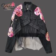 烟花定制 意大利19女装重工刺绣亮片玫瑰花前短后长网纱牛仔外套