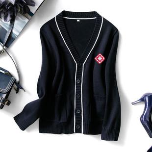护士毛衣外套开衫 藏蓝色护士服针织衫外搭秋冬季加绒加厚
