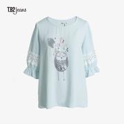 T.B2韩国版女装春夏季蕾丝拼接甜美可爱韩风宽松版短袖T恤