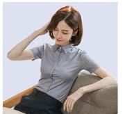 短袖白衬衫女夏季修身韩版暗门襟工作服OL职业大码商务正装上衣