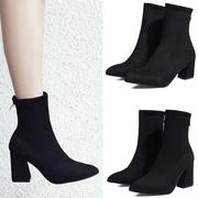 2018短靴秋冬粗跟弹力靴女靴高跟尖头中筒靴英伦风加绒马丁靴