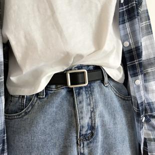 布丁和夏天皮带chic无孔复古风长方形银色哑光扣头女腰带