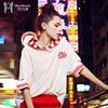玛玛绨酷卫衣2019女春装pphome条纹连帽薄款宽松短袖上衣