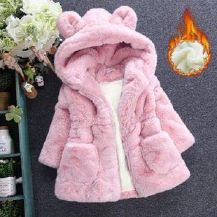 加绒女童冬装毛毛外套仿皮草女宝宝1一3两2-4三5岁小女孩衣服洋气