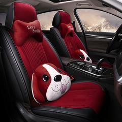 秋冬季专用汽车坐垫加厚保暖短毛绒车座垫全包围座套卡通女座椅套