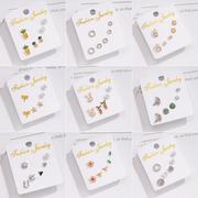 三件套套装纯银耳钉女气质韩国个性百搭简约精致网红防过敏耳环饰