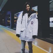 何穗白色工装羽绒服女中长款宽松户外加厚情侣大毛领外套女冬