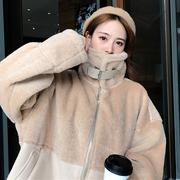 2018冬季女装宽松仿羊羔毛皮毛一体加厚保暖棉衣棉服外套