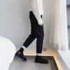 西西里男装毛呢裤子ins直筒小西裤男九分卷边男生西装裤潮