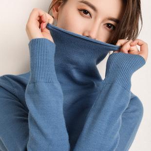 朵绒纯2018秋冬高领毛衣女纯色堆堆领针织打底衫长袖大码