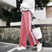 金丝绒阔腿裤女春秋季女裤高腰宽松bf拖地直筒裤垂感长裤