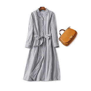 18秋冬 日式优雅气质竖条纹 系带收腰棉麻长款衬衫式连衣