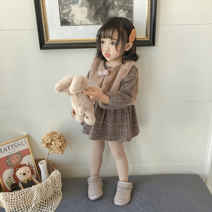 女小童洋气套装2018冬季小女孩童装宝宝加绒套裙马甲连衣裙两件套