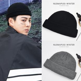 帽子冬季瓜皮帽男士针织毛线帽街头流氓帽雅痞嘻哈包头冷帽潮