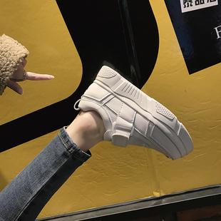 小白鞋女2018冬季松糕厚底运动鞋加绒魔术贴板鞋子女