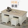 欧式大理石功夫茶几办公室全自动上水茶桌椅组合带电磁炉实木茶台