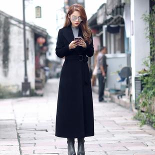 方领纯羊毛呢大衣女装2018冬欧美系带超长款羊绒职业呢子外套