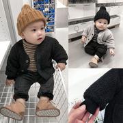 霖霖家婴童装 男婴儿外套冬装 宝宝西装夹克儿童羊羔绒呢大衣