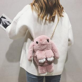 毛绒小包包女2018秋冬纯色毛毛包小清新可爱装死兔单肩斜挎包