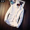 棉麻衬衫男士潮流帅气亚麻长袖衬衣白色寸衫秋季上衣