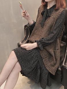网秋冬欧洲站女装中长款显瘦针织马甲雪纺连衣裙两件套装气质