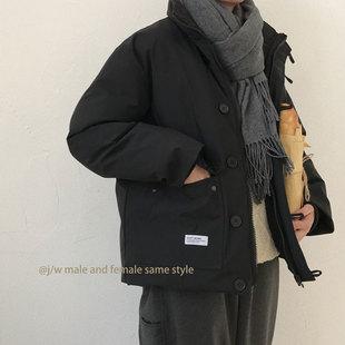 J W 冬季日系复古原宿机能多口袋工装加厚立领棉衣外套男女通款