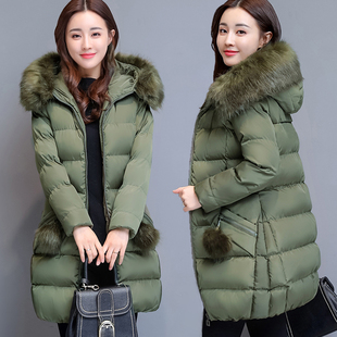 棉服女2018冬装棉衣女中长款冬天外套大毛领羽绒棉袄