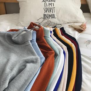 高领毛衣男潮流冬季打底衫男士情侣针织衫学生纯色毛线衣