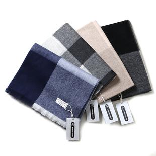 欧美100羊毛格子围巾英伦女冬季羊绒披肩两用情侣款男士长款