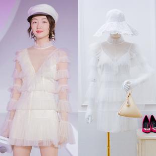 明星周冬雨白色网纱蕾丝蛋糕裙很仙的连衣裙女小清新小个子潮