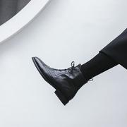 2018秋冬方头布洛克女鞋粗跟短靴平底复古英伦风马丁靴女系带