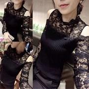 长袖t恤女 2018秋装蕾丝拼接短款显瘦紧身性感露肩上衣服
