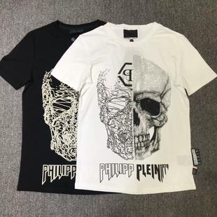 2019欧美短袖T恤男装创意个性半骷髅头烫钻时尚纯棉潮流tee男