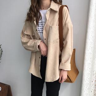 春装衬衫女宽松百搭显瘦灯芯绒长袖纯色学生中长款开衫外套