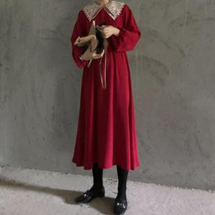 春装chic韩国复古法式蕾丝翻领高腰连衣裙女宽松显瘦中长裙
