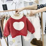 宝宝加绒套装小童童装2018冬装男女童洋气卫衣裤子儿童两件套