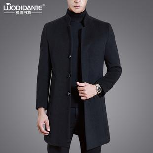 冬季毛呢大衣男中长款中年立领商务羊毛大衣男士羊绒呢子风衣外套