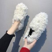 2018秋季女鞋潮鞋百搭毛毛鞋外穿平底豆豆鞋女冬网红学生单鞋