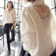 秋冬女装批發宽松长袖性感衬衣中长款拼接蕾丝V领白衬衫