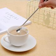 日本进口创意不锈钢长柄咖啡勺子家用搅拌勺奶茶甜品小调羹调味勺