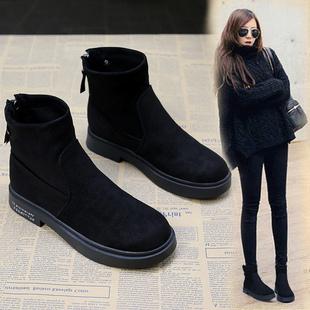 瘦瘦短靴女2018秋冬黑色平底马丁靴女英伦风粗跟短筒靴子