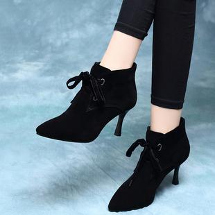 女靴2018春秋季磨砂皮小跟网红短靴秋冬季绒面细跟高跟鞋系带