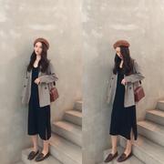 秋装女2018套装复古格纹长袖小西装外套+针织背心长裙潮