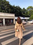 chic风衣女中长款2018春秋装宽松裙摆过膝薄款矮个子lulu外套