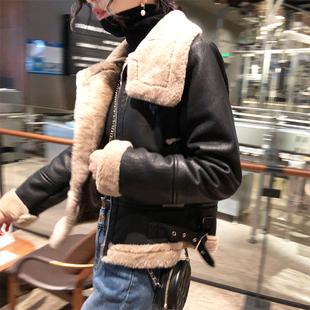 外套冬装女2018短款皮衣皮毛一体夹克加厚秋冬百搭机车服