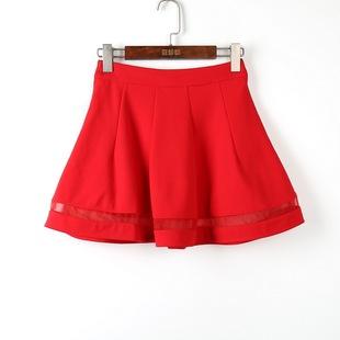 名系列春夏装撤柜女装大红色简约纯色短裙半身裙